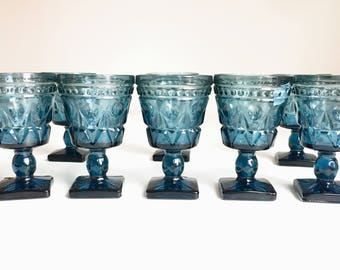 Vintage Juice Glasses ca. 1950's - Set of 8 - Mid Century Blue Bohemian Glasses/Cups