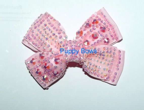 "Puppy Bows ~BIG pink sequin bow for medium/large dogs 3.5""   ~Usa seller"