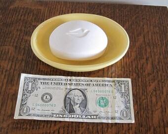 Soap Dish, Yellow Ceramic Soap Dish
