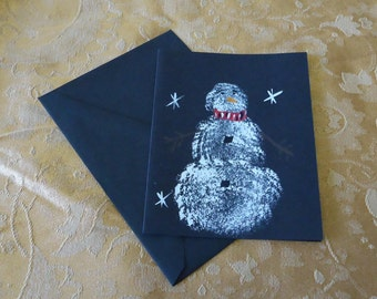 Christmas card, SNOWMAN card, hand painted card, holiday card, blank card, painted card, free shipping