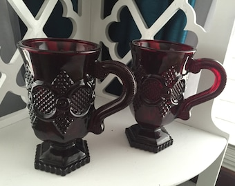 Avon 1876 Cape Cod Glass Footed Handle Mug Set of 2