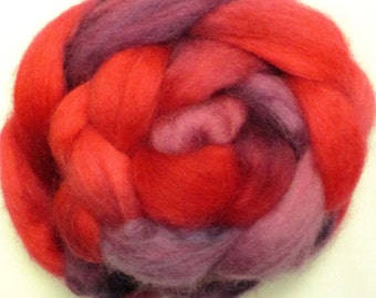 4 oz Hand Dyed Blue Faced Leicester BFL Wool Roving for Hand Spinning