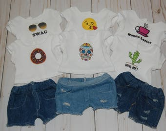 SALE-2 piece outfit-fits American Girl Doll clothes/18- inch doll clothes/denim shorts/doll tee/doll shirt/doll outifit