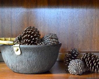 vintage raymor brown pottery bowl / aldo londi bitossi / mid century modern / italian ceramics