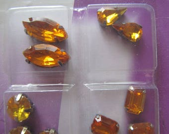 set of 10 rhinestone set sewing 4 different shapes - yellows/oranges