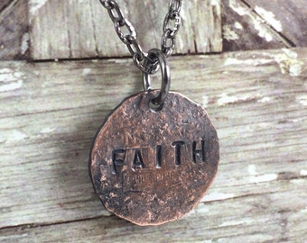 FAITH Penny Charm Necklaces, Good Luck Penny, Bouquet Charm, Coin Charm Necklace, Inspirational Necklace,Gift Idea for mom, daughter, friend