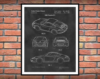 1998 Porsche 911 Patent Print - Sports Car - Porsche Poster - German Sports Car - Auto Collector Decor - Porsche Gift