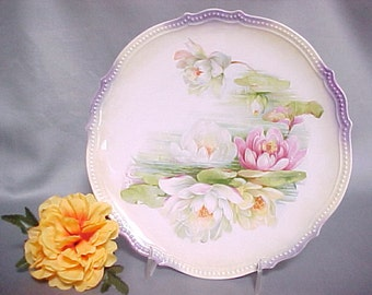 P. K. Silesia Antique Transferware Plate With Water Lily in Pink Green and Soft Yellow, Vintage Home Decor, Collectible German China Plate