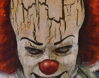 Pennywise - IT - Clown - Stephen King - Tim Curry - Painting Art Print