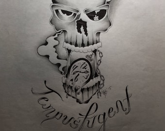 """Tempus Fugent..""""Time Flys"""" a creative skull and clock"""