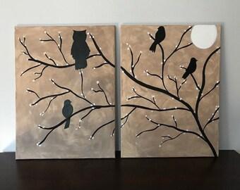 Night Bird silhouette painting