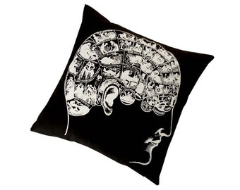 Phrenology silk screened cotton canvas throw pillow 18 inch white on black