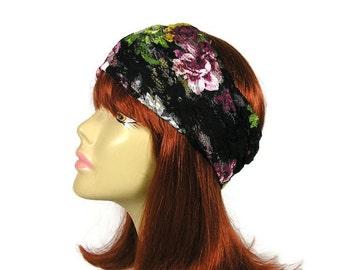 Black Lace Floral Head Wrap Summer Boho Head Wrap Summer Headband Lace Head Wrap Womens Lace Headband Lace Headbands Black Lace Headbands