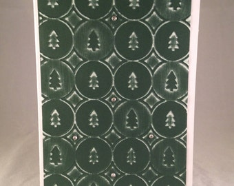 Set of 5 Christmas Tree in Circles CLASSIC Christmas Cards