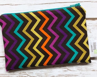 Reusable Snack Bag ~ Zippered Pouch ~ Favor Bag ~ Goody Bag ~ Eco Friendly in Bright Chevrons