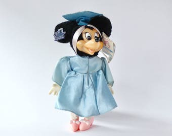 Vintage Disney Minnie Mouse graduation toy by Applause. Disney graduation gift piece. Minnie mouse plastic face blue collectors toy doll.