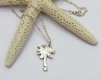 Silver Palm Tree Necklace, Palm Tree Jewelry, Dainty Palm Tree Necklace, Beach Lover Jewelry, California Jewelry, Florida Jewelry, Tropical
