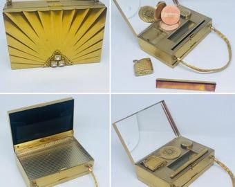 Vintage Art Deco Handbag, 1940s Evans Handbag, Metal Handbag, with compartments for compact, lipstick, lighter, combe, coin dispenser.
