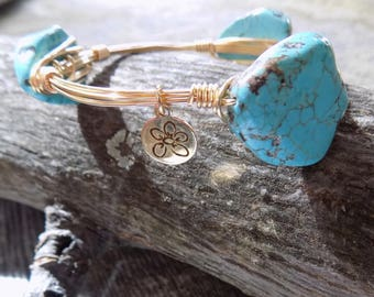 Bourbon & Boweties Inspired Bracelet.  Turquoise Imperial Sea Sediment Jasper Slab Wire Wrapped Bracelet.