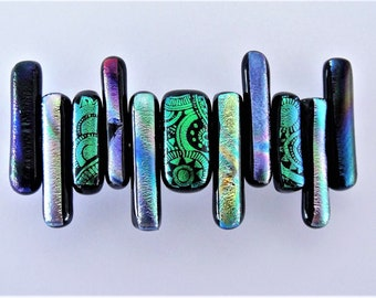 Dichroic Glass Green and Purple French Barrette Etched Emerald Green Purples Yellow Green Dichroic Fused Glass Satin Sheen Hair Barrette