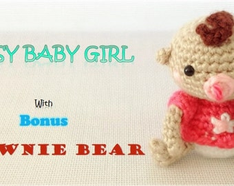 Daisy Baby Girl and BONUS Brownie Bear (PDF Pattern)