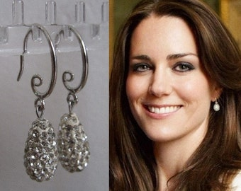 Kate Middleton Duchess of Cambridge Inspired Replikate Queen Letizia Egg Tear Drop Pendant Silver Clear Crystal Pavé Earrings