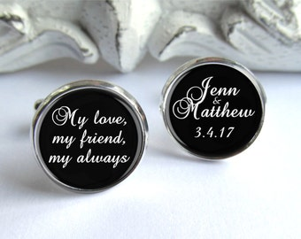Wedding Cufflinks, Groom Gift, Personalized Cufflinks For The Groom