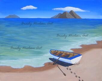 Row Boat on a Beach Acrylic Print