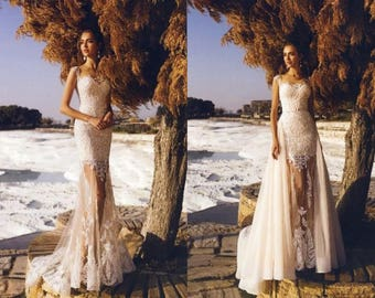 Emily - Nuage Volant Mermaid Lace Wedding Dress/ Fit and Flare /Detachable Train/Poshfair