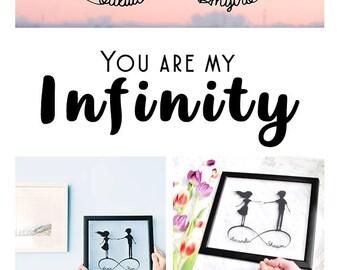 1st Anniversary Gift- Custom Anniversary Gift- Personalized Art- Wedding Shower Gift- Paper Anniversary- Couple Wedding Gift- Husband Gift