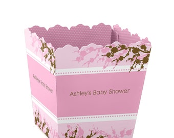 Cherry Blossom Custom Small Candy Boxes - Personalized for Baby Showers, Birthday Parties, and Bridal Shower Party Supplies - Set of 12
