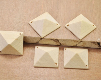 10pcs Square Wood Bead Natural Unfinished Wooden Bead Square stereoscopic bead necklace pendant 29x30x13mm