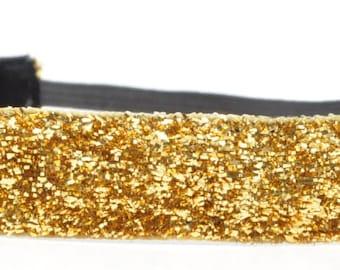 Glitter Headband - Gold Headband - Sparkle Headband - No Slip Headband - Team Headband - Cheer Headband - Sports Headband - Running Headband