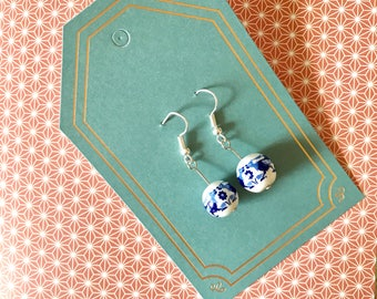 Patterned Ceramic Blue and White Earrings