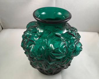 "1950's Imperial Glass Vase IG 6"" Mark  La Bella Rose Pattern  Puffy Shape"