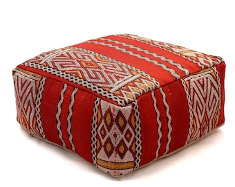 Moroccan Pouf, Floor Cushion, Kilim Pouf Ottoman, Floor Pillow, Foot Stool, Refashioned from a Vintage Moroccan Berber Rug. A069