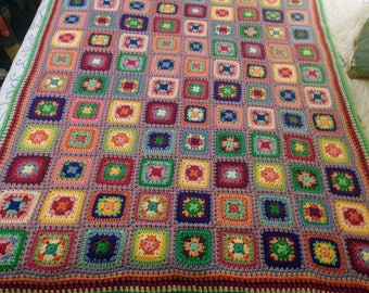 Jeweled Harmony Granny Square Afghan (Twin)