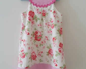 Pink Yoke Floral Dress Cream for 5 year old ships worldwide