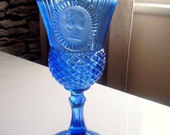 Vintage Avon Fostoria Cobalt Blue Glass Cameo Goblet, Circa 70-80's