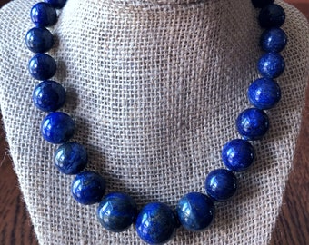 Bold Statement Graduated Lapis Necklace