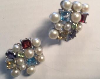 Sterling pearl and gemstone earrings