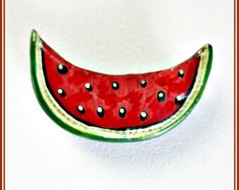 Broche de sandía artesanal, broche pintado y hecho a mano, pin sandía, broche fruta, regalo para ella, pin fruta, broche veraniego, regalo