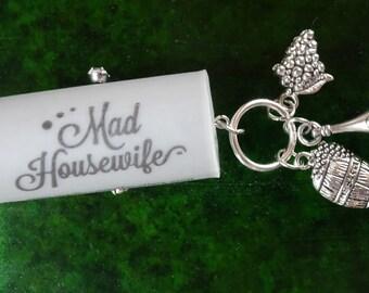 Wine Cork Ornament, Mad Housewife Ornament, Wine Bottle Charm