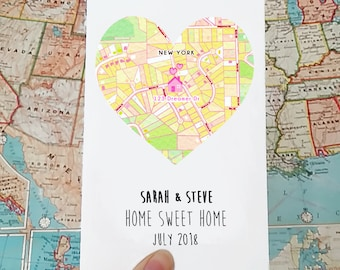 Personalised new home card - first home card - new house card - housewarming gift - moving house card - moving house gift -  map heart
