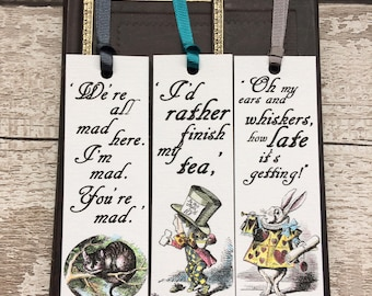 Alice in Wonderland Bookmarks, set of three hand-coloured and finished with ribbon, with literary quotations,