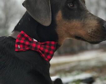 Buffalo Plaid Dog Bow Tie - Holiday dog bowtie - Christmas dog bow - Christmas dog bowtie - Winter dog bow
