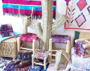 Moroccan bench with multi-coloured hand made seat
