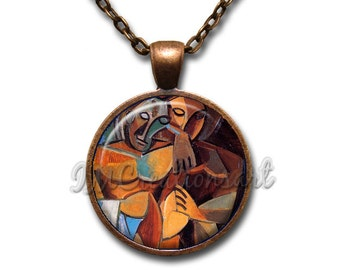 Wearable Art Picasso Friendship Glass Dome Pendant or with Chain Link Necklace  AN147