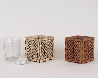 Wooden Tea Light / Votive Candle Holder With Glass insert - Celtic Knot Pattern
