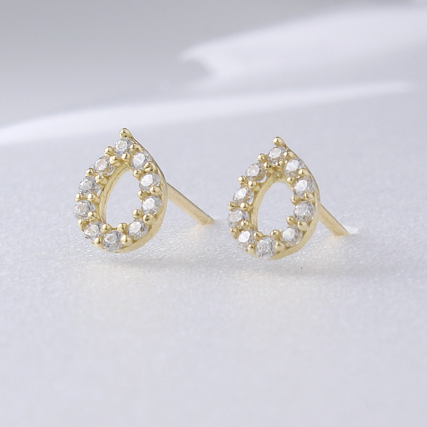 14K Solid Gold Dot Teardrop Stud Earrings 14K Small Studs